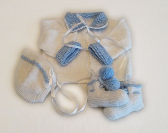 White Sweater Set with Blue Collar