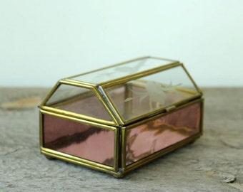 vintage brass & glass jewelry box . etched glass treasure chest trinket box . pink glass jewelry display box, memory box with mirror bottom