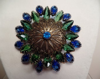 1950's Fantastic Brooch with Blue and Green Stones-Unsigned Beauty