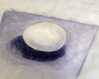 One egg, Original watercolor painting
