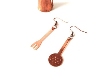 Earrings The LITTLE COOK -- Copper colored earrings, kitchen inspired by The Sausage