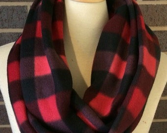 Clearance Sale! Buffalo Check Super Soft & Warm fleece infinity circle wrap scarf Classic red and black plaid