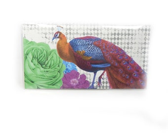 checkbook cover - Ultra Peacock - check book holder - retro modern floral - diamond print