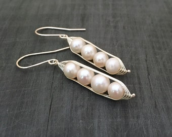 Pea pod earrings //  Four snow peas in a pod with white fresh water pearls Pea pod jewelry, gift for gift for her // great gift for mom