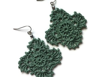 Gypsy Lace Crochet Earrings Handmade Lace in Sagebrush//Boho Chic Crocheted Dangle Earrings Gift for Her