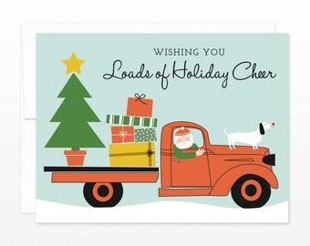Funny Santa Christmas Card, Santa in a Pick Up Truck Holiday Greeting Card, Holiday Cheer Card, Simple Christmas Card, Santa Claus Card
