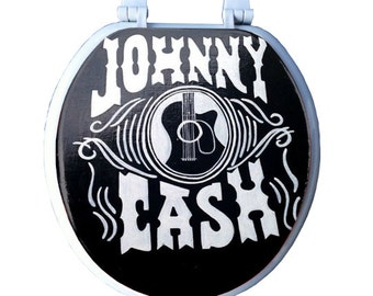 JOHNNY CASH Toilet Seat Hand Painted Man Cave Dad Grad Gift Bathroom Decor Remodeling