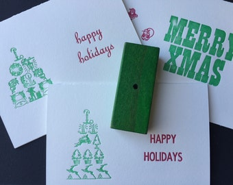 Three assorted letterpress holiday cards