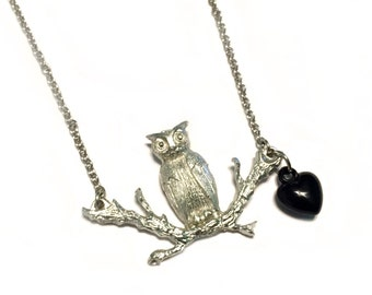 Silver Owl Branch Necklace Black Heart Vintage Boho Celebrity Style Gift Unique Chain Pewter Plastic Tree Hoot Bird Vintage Inspired