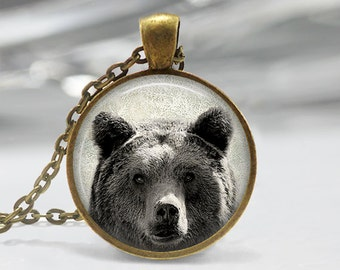 Bear Pendant, Bear Art Necklace, Bear Jewelry, Bear Art Pendant, Bear Art, Bear Art Portrait, Bronze, Silver, 008