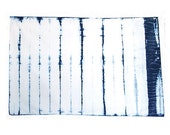 STRIPE- hand-dyed Indigo Pillow Case: Queen Size Soft Sateen weave 100% cotton Shibori
