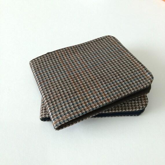 Ultra Thin Mens Billfold Wallet / Vintage Houndstooth Wool / OhSoRetro