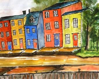 Newfoundland, watercolour, pen and wash, watercolor, buildings