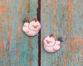 Handcrafted Plastic Whimsical White Chicken Hen Earrings