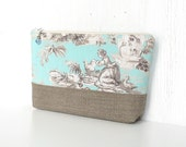 Large Zipper Pouch, Fabric Cosmetic Case, Zipper Makeup Bag - Pastoral Toile in Aqua, Taupe and Cream