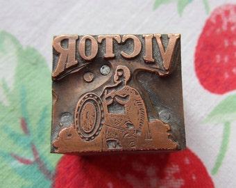 Victor Gladiator Antique Letterpress Printers Block