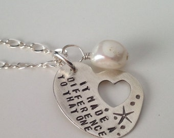 The Starfish Story Hand Stamped Adoption Symbol Necklace