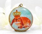 Rabbit Locket Bunny Pendant The Loppy Princess - Bunny Locket - Bunny Rabbit Necklace - Lop Bunny Locket