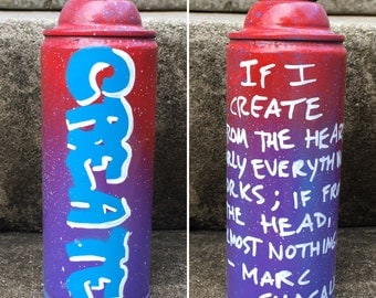 CREATE recycled spray paint can stencil art red purple blue white