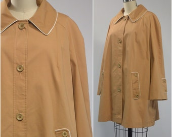 Mod Tan Piped Swing Coat | 1960s Vintage Jacket | Size Large XL