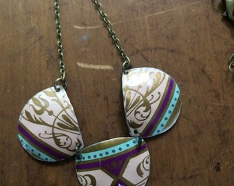 Purple, gold, cream, and soft blue vintage tin necklace