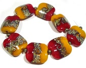 Handmade Lampwork  Squeezed Beads, Handmade Red beads, Red Glass Beads,  Curry and Saffron  Twist