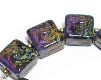 Rakuli Twist Tiles, SRA Handmade Glass Lampwork Beads