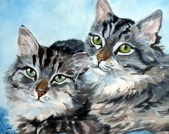 Custom Pet Portrait Painting, Fine Art Oils on Canvas Cat Portrait Animal Art