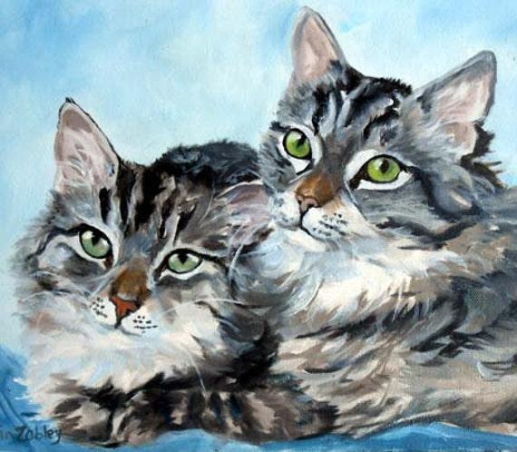 Custom Pet Portrait Painting, Fine Art Oils on Canvas Cat Portrait