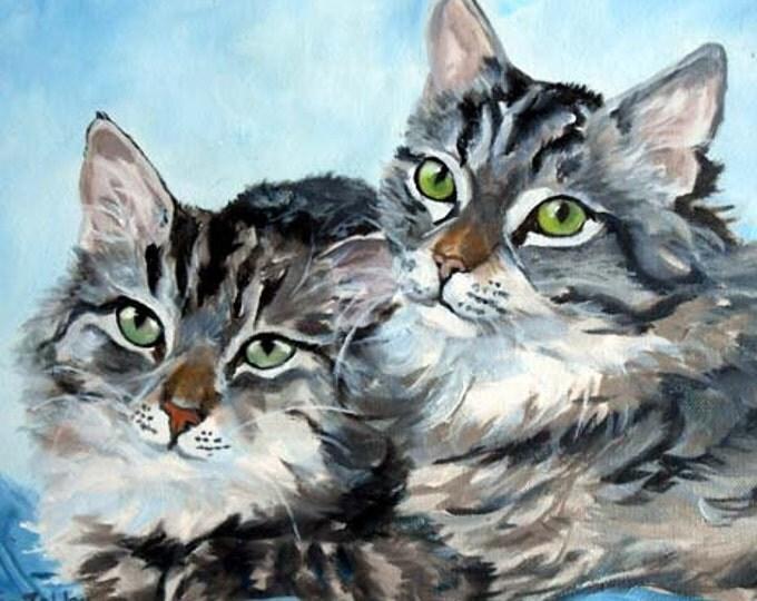 Custom Pet Portrait Painting, Fine Art Oils on Canvas Cat Portrait Gift Certificate