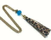 Tassel Necklace Animal Print and Matte Teal Glass