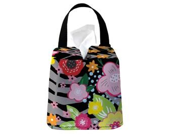 Auto Sneeze Box - Floral Burst - Black - or PICK YOUR COLOR - Car Accessory Automobile Caddy Tissue Case Tissue Box Cover Car Tissue