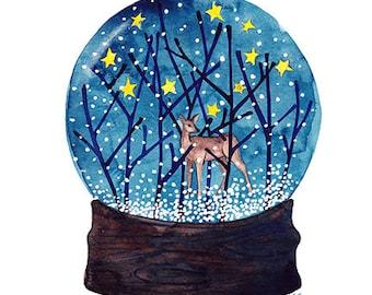 SALE Forest Flurries Original Woodland Watercolor Painting Original Watercolor Artwork Winter Woodland Art