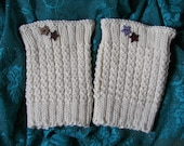 To order -  Boot Cuffs Waffle Knit Thermal Warm Toppers Cream Acrylic Yarn Star Buttons USA made *FREE SHIP