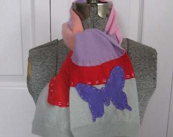 Girl Cashmere Scarf . Butterfly  Scarf . Cashmere Butterfly Scarf . child cashmere scarf .  made from reclaimed cashmere sweaters
