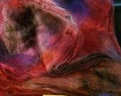 CRAZY Handpainted Silk Hankies Mulberry Spin Nuno Felt FUSCHIA DREAM