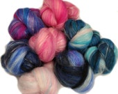 Crater Lake battlings -- mini batts (2 oz.) merino wool, tencel, silk, sparkle.