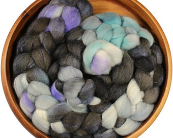 Invisibility Cloak  - hand-dyed Polwarth wool and silk (4 oz.) combed top roving