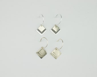 Triple Stacked Square Earring
