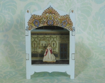 Miniature Toy Theater Vignette in Pale Blue
