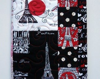 Paris Fabric Journal, Quilted Notebook Cover, Eiffel Tower, France, Black white and red, Travel Diary, Composition Notebook Cover, Diary