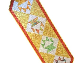 PDF Table Runner Pattern - Celebration, Easy quilt pattern for making a long table runner using 10 inch squares, Traditional quilt block