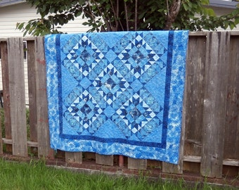 Lap Quilt, Batik Patchwork Quilt in shades of blue, Tidepools, medium quilt, sofa throw, home decorating, couch quilt, ocean water theme