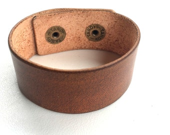 "1 1/4"" wide Tan Leather Cuff Bracelet Wristband by Shaterra"