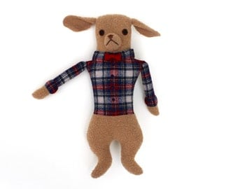 Dapper Dog Boy in Plaid doll plush wool Bowtie