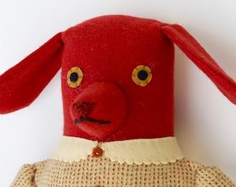 Orange Preppy Girl Dog wool doll plush softie
