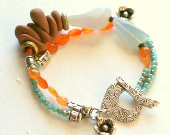 multi strand bracelet, boho bracelet, beach jewelry, carnelian bracelet, toggle bracelet