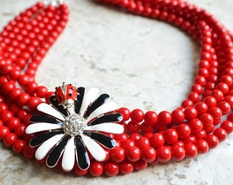 The Ladybug- Red Czech Glass and Flower Brooch Statement Necklace