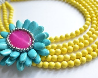 The Jenny- Yellow Howlite and Turquoise Brooch Statement Necklace