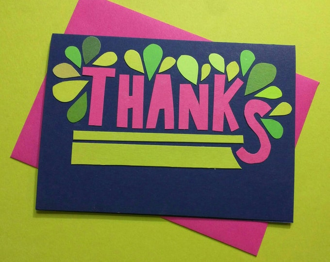 Thanks (Hot Pink + Navy + Green) // Cards For Gratitude